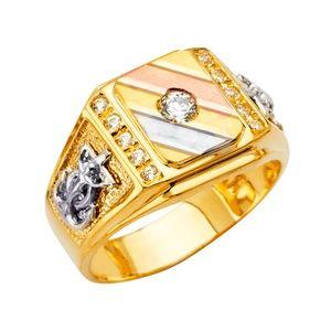 14K Yellow Gold CZ Men's Ring